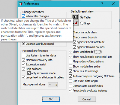 Preferences dialog box showing a tooltip